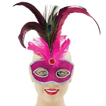 Bristol Novelty Unisex Sparkly Eye Mask With Tall Peacock Feather