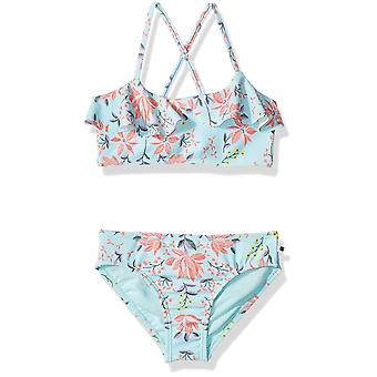 Lucky Brand Big Girls' Two-Piece Swimsuit, Floral Clear Water, Blue, Size L12/14