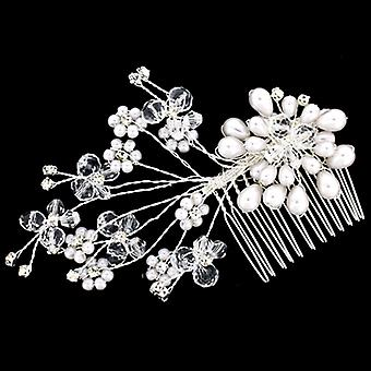 Handmade Wire Spray Pearl Crystal Beads Flower Hair Comb - Brides/Bridesmaids