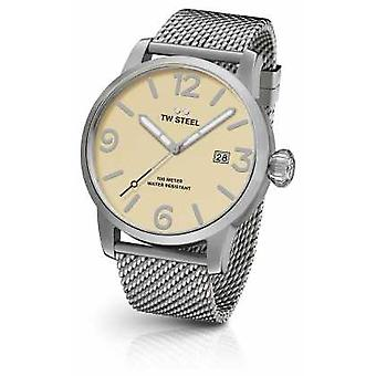 TW Steel Mens Maverick Steel Mesh Strap Cream Dial 48mm MB2 Watch