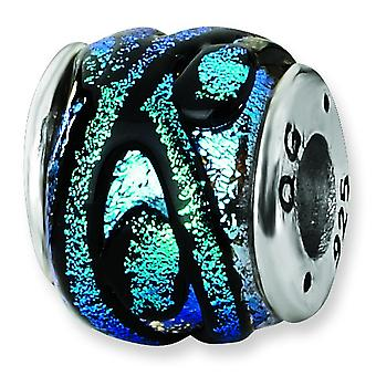 Sterling Silver Reflections Blue Dichroic Glass Bead Charm