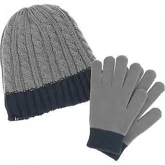 Kit sound 2 in 1 audio knit hat beanie with headset 3.5 mm, including capacitive gloves grey