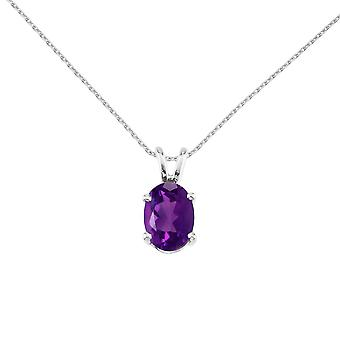 14k White Gold Oval Amethyst Pendant with 18