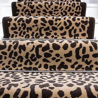 50cm bredde - Beige & brun Retro Leopard Print trappe tæppe