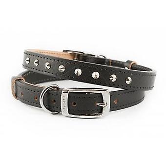 Heritage Diamond Leather Studded Collar Black 19mm X36-46cm
