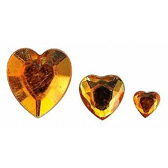 310 Heart Shaped Acrylic Rhinestones for Crafts - Gold