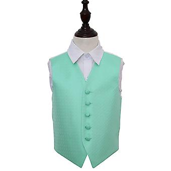 Boy's Mint Green Greek Key Patterned Wedding Waistcoat