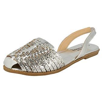 Womens Savannah Glitter Weave Vamp Slingback Sandal F0949