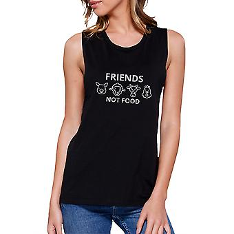 Friends Not Food Black Muscle Top Unique Design For Animal Lovers