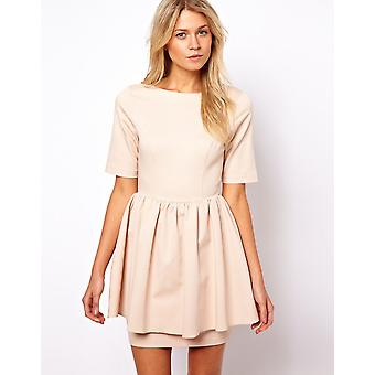 ASOS Skater Dress With Peplum Skirt Sizes 6, 8, 10, 12, 14, 16, 18 Nude / Navy[12,Beiges]