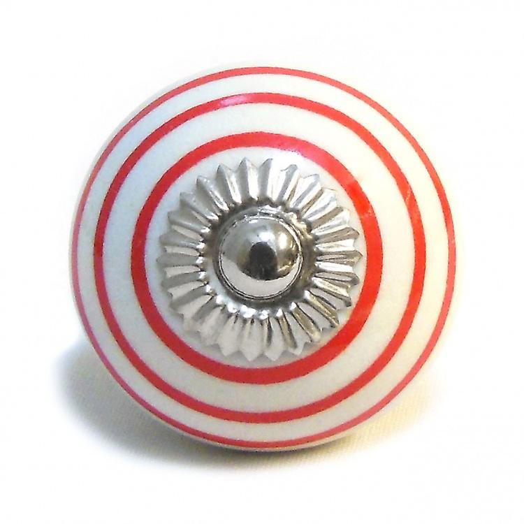 White / Red Stripes Ceramic Cupboard Knob