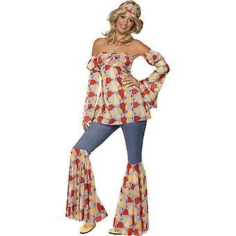 Traje de mujer hippie clásico de 1970
