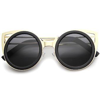Womens Metal Cat Eye Sunglasses With UV400 Protected Gradient Lens