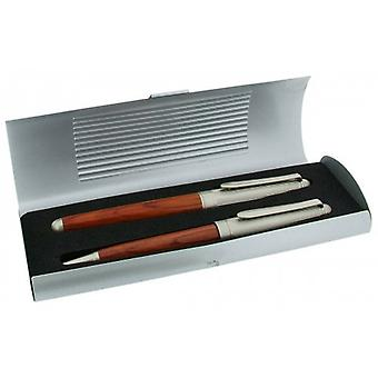 Gift Time Products Metal Box with Ballpoint Pen and Cartridge Pen - Dark Brown/Silver