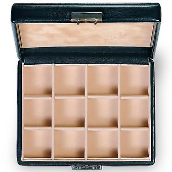 Collectors case collector box of black Sacher fine synthetics inside suede Office 12 slots