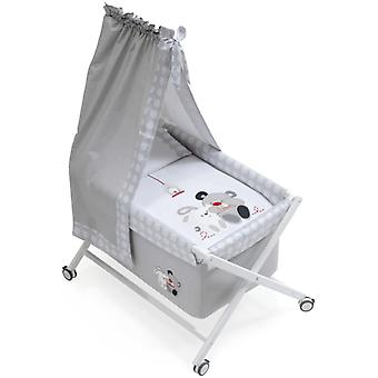 Interbaby Natural Crib canopied Friends Model Gray