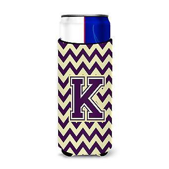 La letra K Chevron púrpura y oro Ultra aisladores de bebida para latas de slim