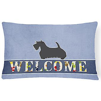 Scottish Terrier Welcome Canvas Fabric Decorative Pillow
