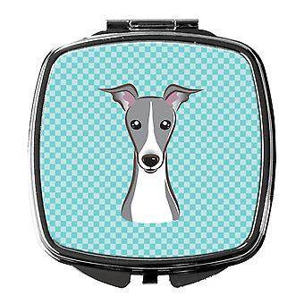 Checkerboard Blue Italian Greyhound Compact Mirror