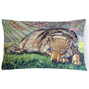 Carolines Treasures  7356PW1216 Wolf and Hummingbird Fabric Decorative Pillow