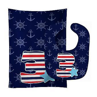 Carolines Treasures  BB8874STBU Nautical Month 3 Baby Bib & Burp Cloth