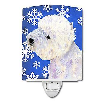 Westie Winter Snowflakes Holiday Ceramic Night Light