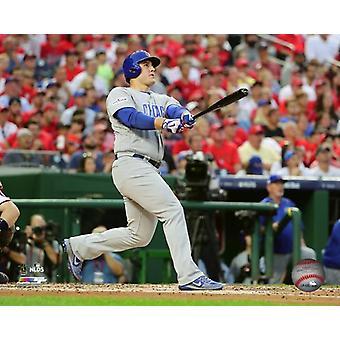 Anthony Rizzo 2-run homerun Game 2 van de 2017 National League Division Series foto afdruk