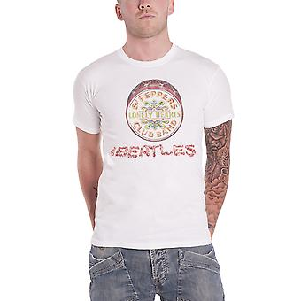 The Beatles T Shirt Flowers Sgt Pepper Logo and Drum Official Mens New White
