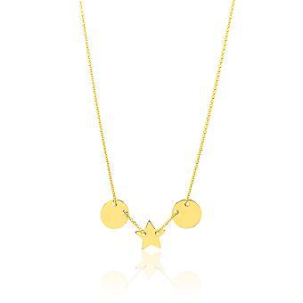 14k gul guld tynde lækkeri halskæde med lille justerbar Charms, 18 tommer (17
