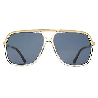 Gucci Metal Brow Square Pilot Sunglasses In Brown