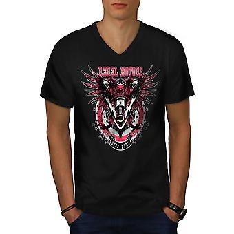 Rebel Motors Club Biker mænd sorte v-hals T-shirt | Wellcoda