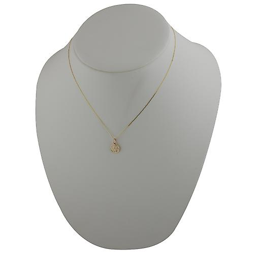 9ct Gold 10mm round St Christoper Pendant with a curb Chain 18 inches Only Suitable for Children