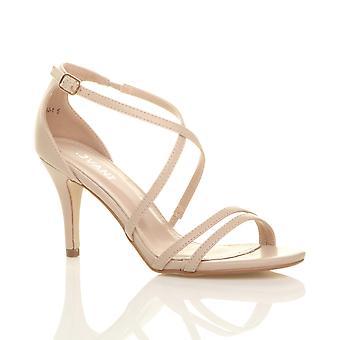 Ajvani womens mid laag hoge hak strappy crossover partij prom sandalen Trouwschoenen