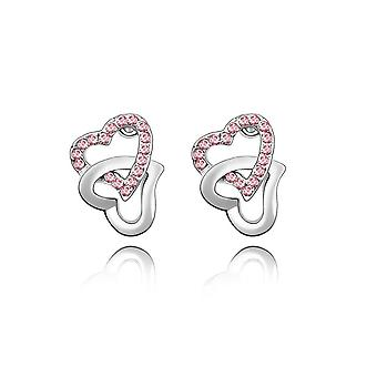 Earrings Crystal embellished intertwined hearts pink Swarovski
