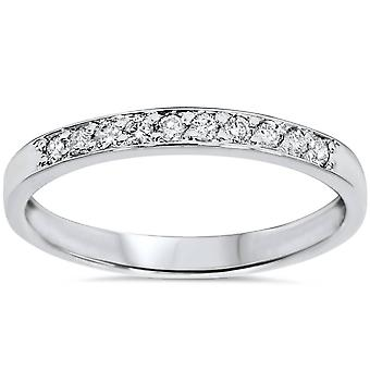 1/4ct Diamond Stackable Wedding Ring 14K White Gold