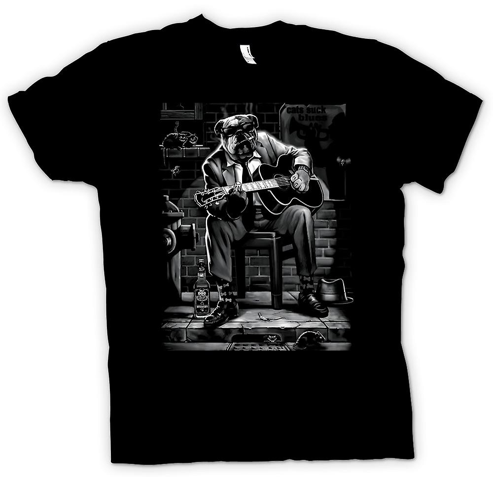 Mens T-shirt - Blues Bulldog Playing Guitar