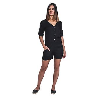 Ladies Playsuit with Long Sleeve - Black All-in-one Shorts-suit
