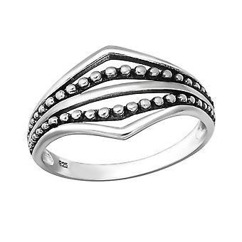Oxidized - 925 Sterling Silver Plain Rings - W36157X