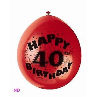 "'HAPPY 40th BIRTHDAY' 9"" Latex Balloons (10)"