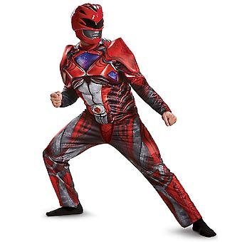Red Ranger Deluxe Muscle Power Rangers Movie Superhero Men Costume XL