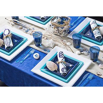 Party tableware romantic set for 8 guests 64-teilig party package blue white party package