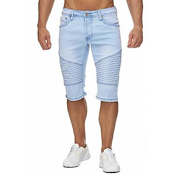 Men's Summer Denim Jeans Shorts Bermuda Long Washed Pants Straight Fit 3/4 Blue New