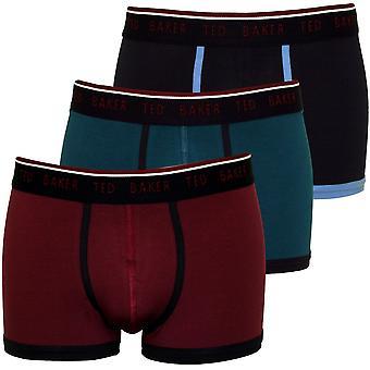 Ted Baker 3-pakning farget slettene Boxer badebukser, burgunder/Teal/Marine