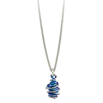 Ti2 Titanium Chaos Drop Pendant and Silver Necklace - Kingfisher Blue