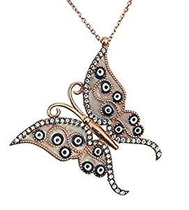 Butterfly necklace with lucky eye symbols, rose gold plated silver