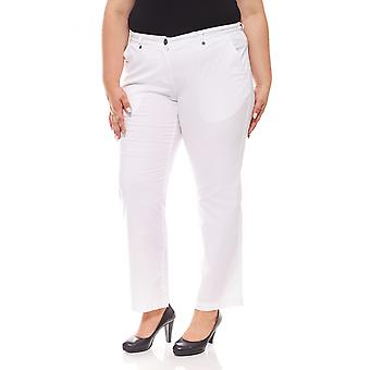 sheego ladies stretch trousers casual look plus size short size White