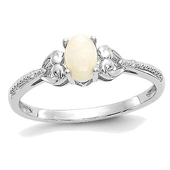 1/5 Carat (ctw) Natural Oval Opal Ring in 10K White Gold