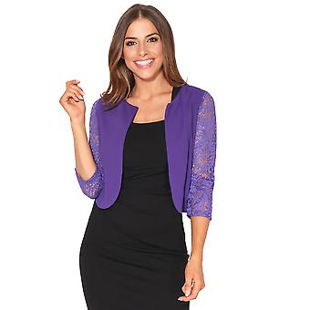 KRISP  Womens Ladies 3/4 Lace Sleeve Cropped Evening Shrug Bolero Top Cardigan Jacket