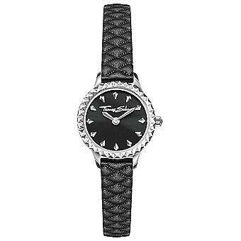 Thomas Sabo Women's Stainless Steel Case Black Leather Strap Black Dial WA0328-203-203-19