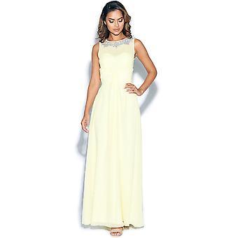 Lemon Sleeveless Embellished Maxi Dress